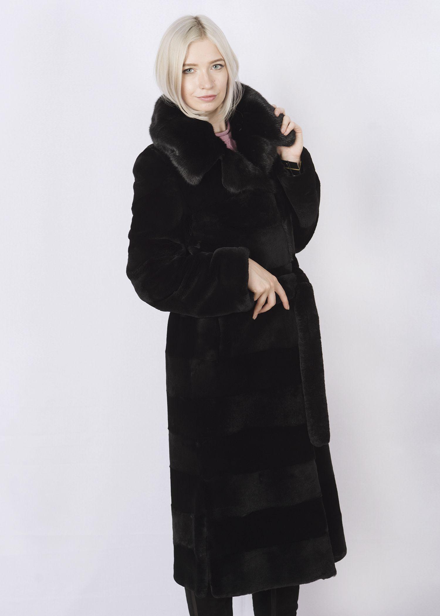 Шуба женская из бобрика(rex) ОА1257В фото №1
