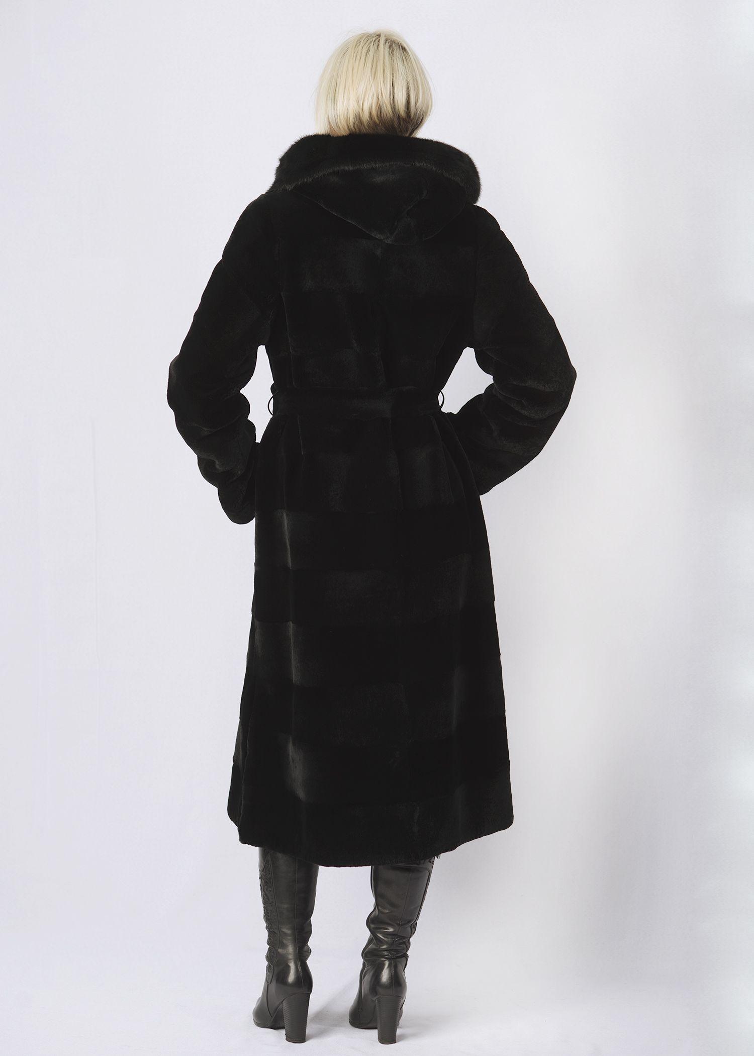 Шуба женская из бобрика(rex) ОА1259-1 фото №1