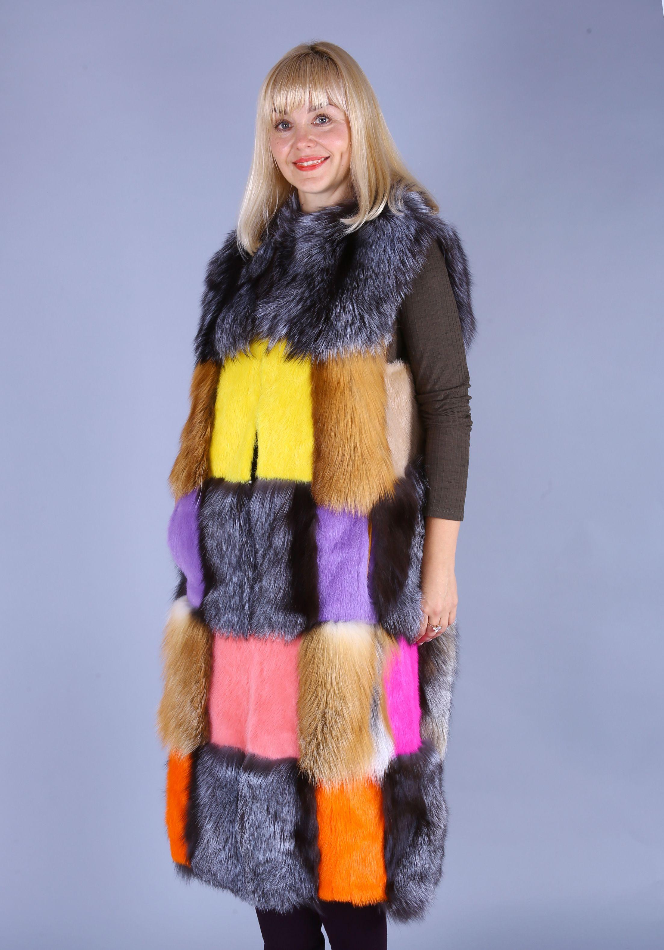 Жилет женский норковый с лисой-цветной фото №1