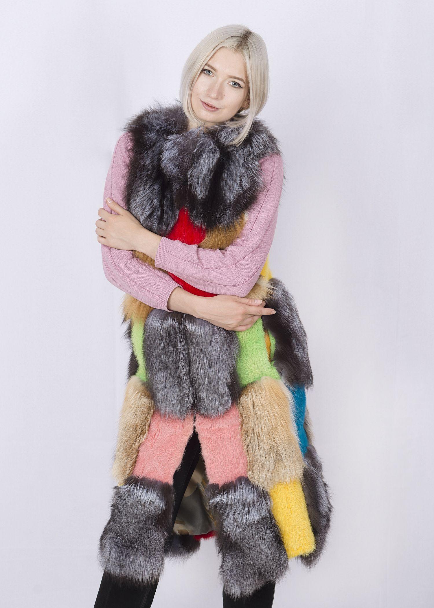 Жилет женский из меха норки и лисы-цветной2 фото №1